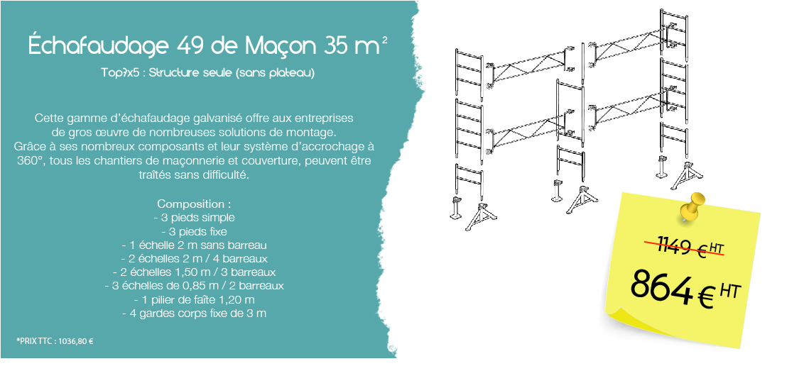 Échafaudage 49 de Maçon 35 m²