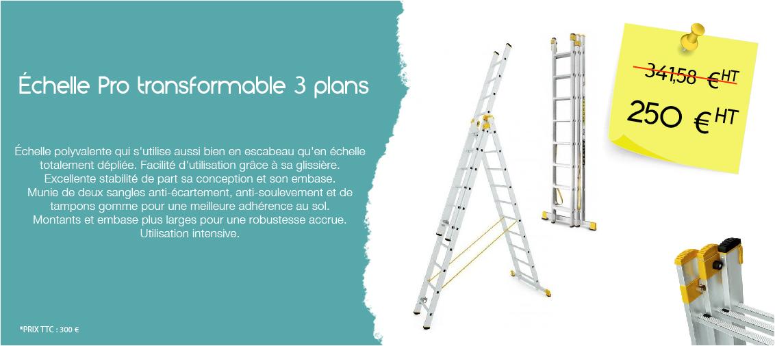 Échelle Pro transformable 3 plans
