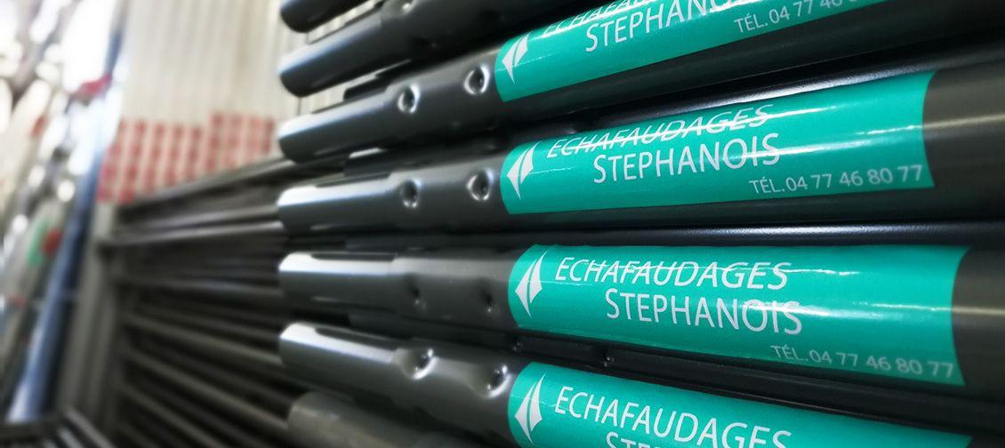 Produits et logo des Echafaudages Stephanois